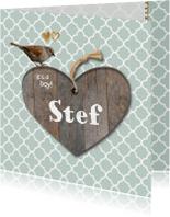 Geboortekaartje Stef mint groen hout- LO