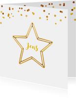 Geboortekaartje ster gouddraad jongen of meisje