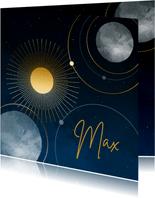 Geboortekaartje sterren maan planeten goudlook jongen