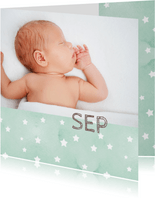 Geboortekaartje sterren zeegroen