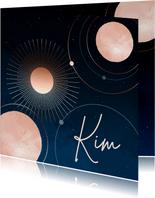 Geboortekaartje sterrenhemel maan en planeten meisje