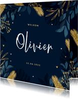 Geboortekaartje stijlvol blauw bladeren goud hartjes