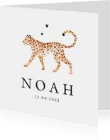 Geboortekaartje stijlvol panter luipaard klassiek hartjes