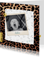 Geboortekaartje stoer en lief met panterprint en foto