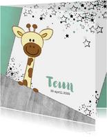 Geboortekaartje stoer kaartje met giraffe en sterren