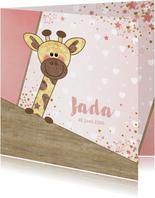 Geboortekaartje stoer kaartje met  lief girafje en hartjes