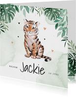 Geboortekaartje tijger jungle botanisch waterverf