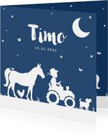 Geboortekaartje tractor blauw maan jongen dieren boerderij