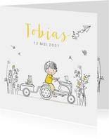 Geboortekaartje tractor met bloemen