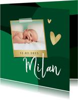 Geboortekaartje trend stijlvol hartje goud groen foto