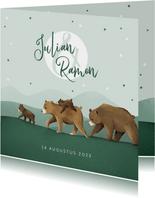 Geboortekaartje tweeling dieren beren familie sterren