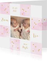 Geboortekaartje tweeling foto aquarel hartjes roze
