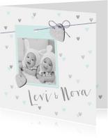 Geboortekaartje tweeling hartjes en foto mint