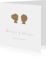 Geboortekaartje tweeling jongen meisje silhouet