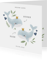 Geboortekaartje tweeling jongen walvisjes plantjes hartjes