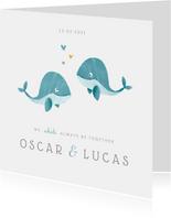 Geboortekaartje tweeling jongens lief walvisjes