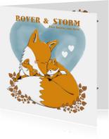 Geboortekaartje tweeling jongens met vos en watercolour hart