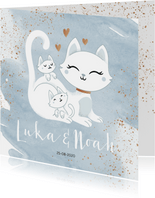 Geboortekaartje tweeling jongens poesje kat kitten waterverf
