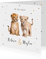 Geboortekaartje tweeling leeuw hartjes