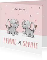 Geboortekaartje tweeling meisje oilifantjes hartjes roze