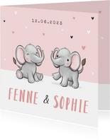 Geboortekaartje tweeling meisje olifantjes hartjes roze