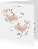 Geboortekaartje tweeling meisje walvisjes en hartjes