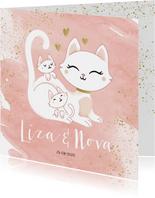 Geboortekaartje tweeling meisjes poesje kat kitten waterverf
