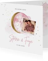 Geboortekaartje tweeling met foto maan en sterren in goud