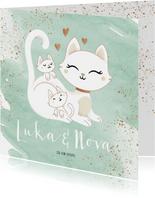 Geboortekaartje tweeling neutraal jongen meisje poes kittens