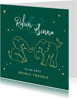 Geboortekaartje tweeling olifant dieren zusje broertje goud
