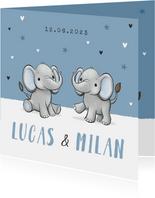 Geboortekaartje tweeling olifantjes blauw jongen sterren