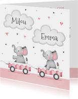 Geboortekaartje tweeling olifantjes roze hartjes wolkjes
