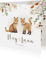 Geboortekaartje tweeling vosjes hartjes droogbloemen goud