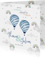 Geboortekaartje tweeling wolkje luchtballon regenboog jongen
