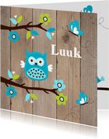 Geboortekaartje uiltje boom houtlook jongen