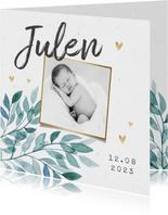 Geboortekaartje unisex bladeren hartjes goud foto