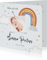 Geboortekaartje unisex regenboog stof sterren wolken foto