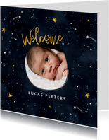 Geboortekaartje universum met sterren en foto