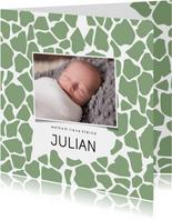 Geboortekaartje vierkant girafprint foto