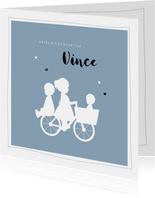 Geboortekaartje vierkant silhouet bakfiets zus met broertjes