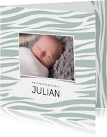 Geboortekaartje vierkant zebraprint foto