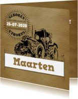 Geboortekaartje vintage tractor