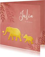 Geboortekaartje voor een meisje Jungle met gouden olifant