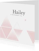 Geboortekaartje voor een meisje met geometrie en sterren