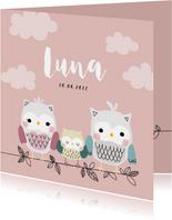Geboortekaartje voor een meisje met uilenfamilie