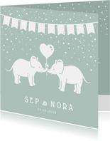 Geboortekaartje voor een tweeling met olifantjes en confetti