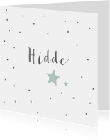 Geboortekaartje voor een zoon met sterren en stippen