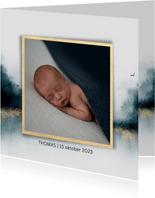 Geboortekaartje voor jongens met navy blauw en foto