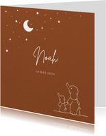 Geboortekaartje voor jongens met olifantjes en sterrenhemel