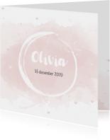 Geboortekaartjes - Geboortekaartje voor meisjes met waterverf en roze hartjes